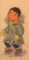 Kickbush original painting of Eskimo girl